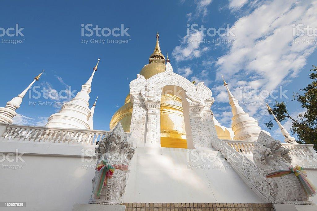 Golden pagoda in Chiangmai Thailand royalty-free stock photo