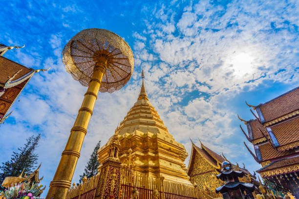 golden pagoda in wat Phrathat Doi Suthep golden pagoda in wat Phrathat Doi Suthep under blue sky.Temple is tourist attraction of Chiang Mai, Thailand. chiang mai province stock pictures, royalty-free photos & images