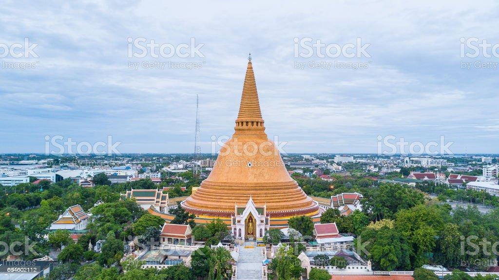 Golden pagoda Phra Pathom Chedi of Nakhon Pathom province Asia Thailand stock photo