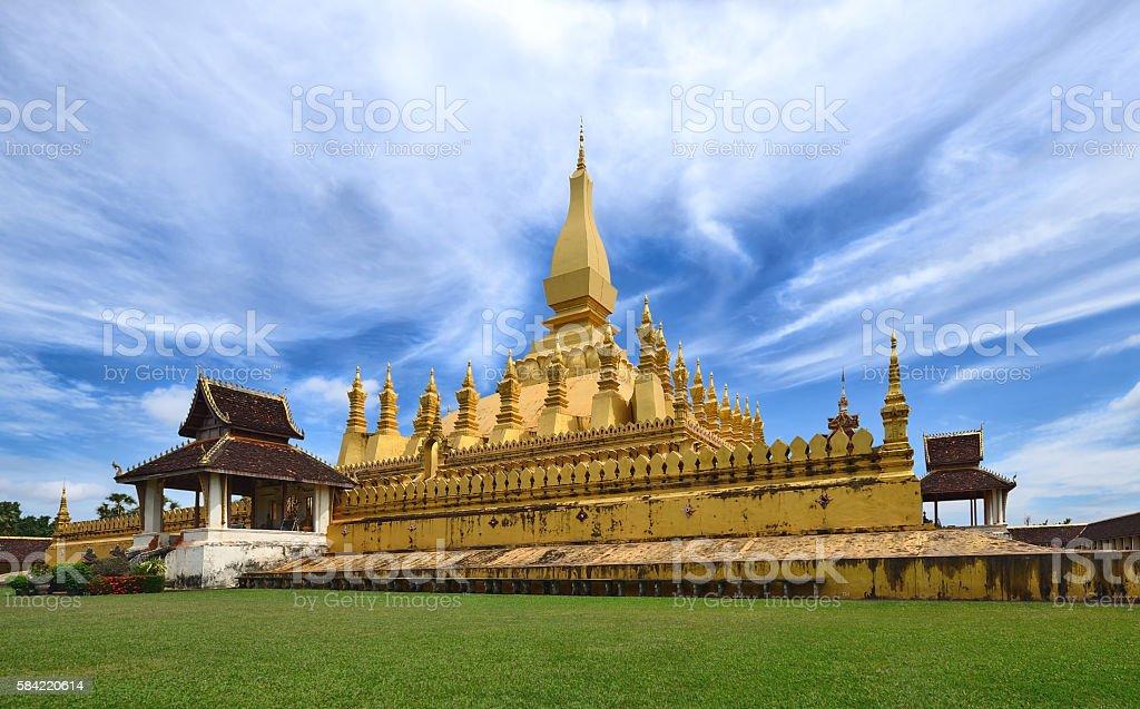 Golden pagoda wat Phra That Luang  in Vientiane, Laos stock photo