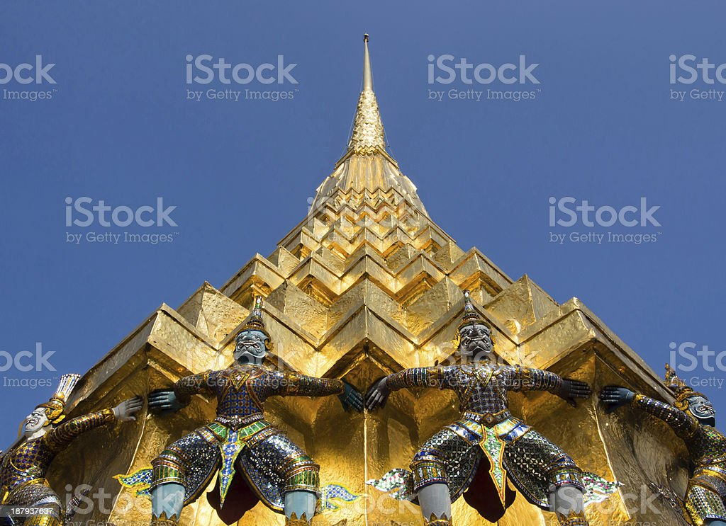 Golden pagoda with giant royalty-free stock photo