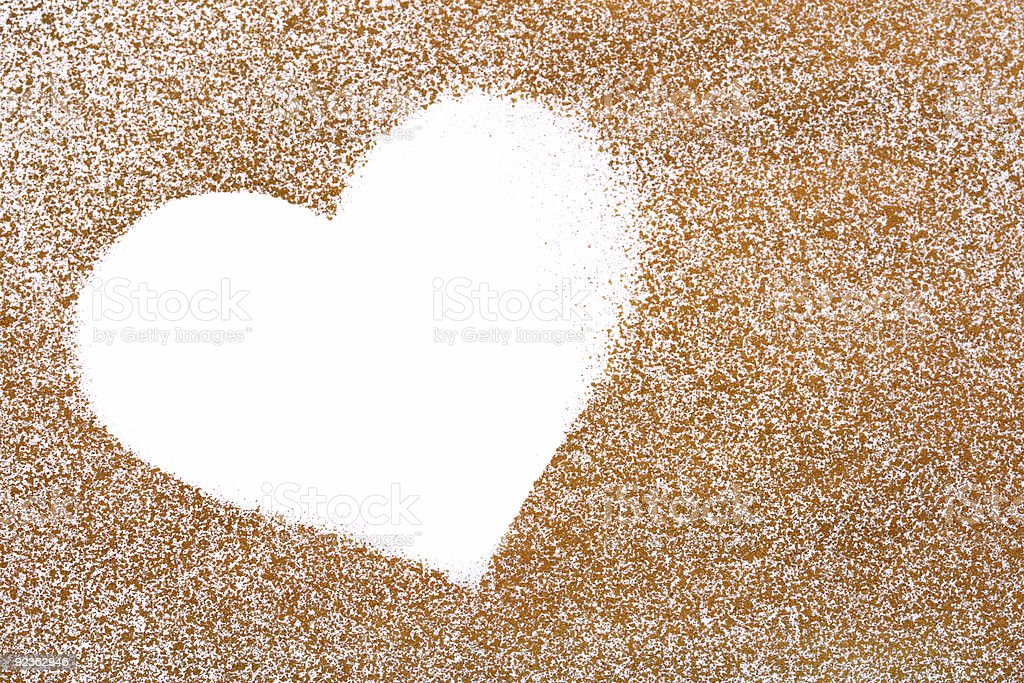 golden painted  paper with white heart shape  for valentines day royalty-free stock photo