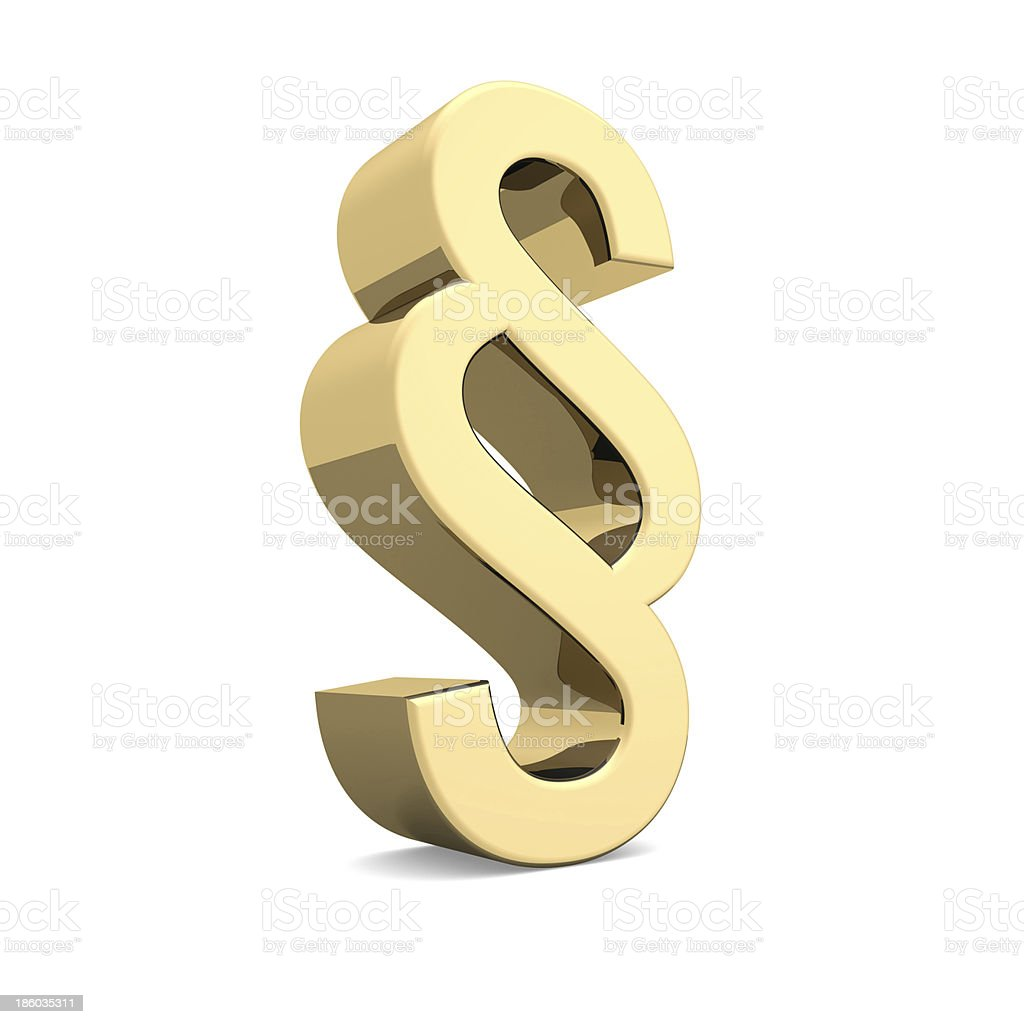Golden paragraph sign royalty-free stock photo