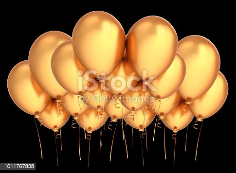 istock golden party balloon flying up. happy birthday decoration yellow 1011767838