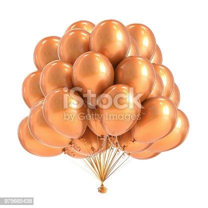 istock Golden party balloons bunch 975665438