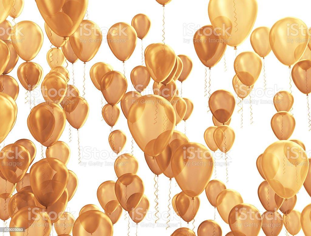 Golden party balloons stock photo