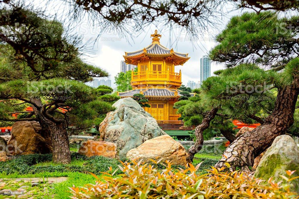 Golden pavilion,  Hong Kong, China stock photo