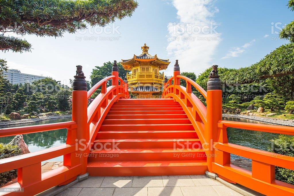 Golden Pavilion in Nan Lian Garden, Hong Kong, China. stock photo