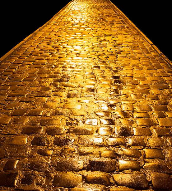 Golden paving stock photo