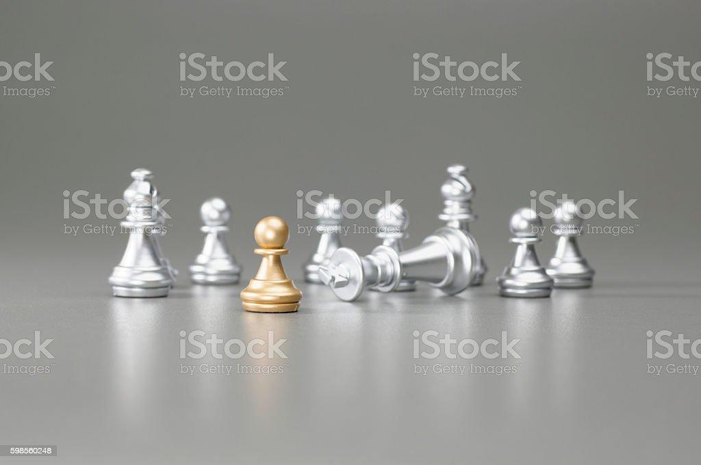 Golden Pawn chess stock photo