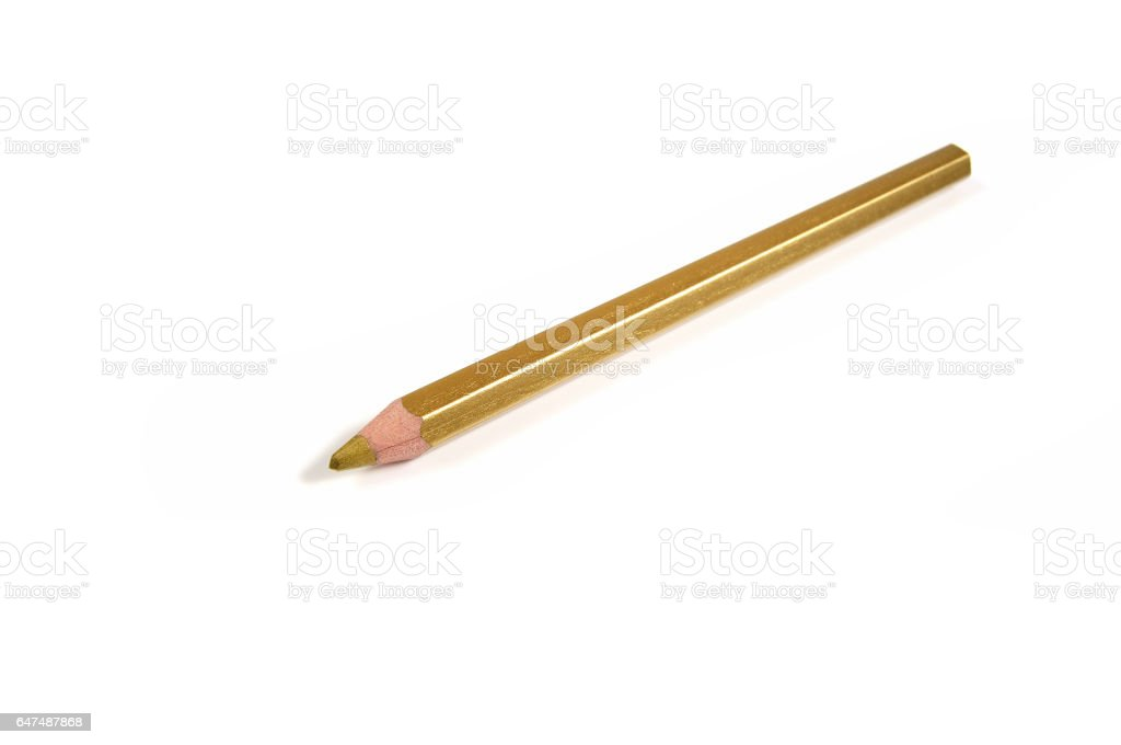 Golden pencil on a white background stock photo