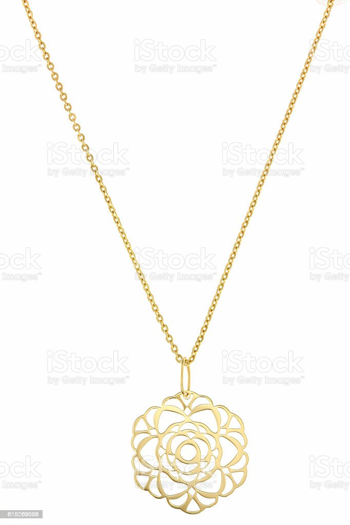 Golden pendant isolated on white stock photo