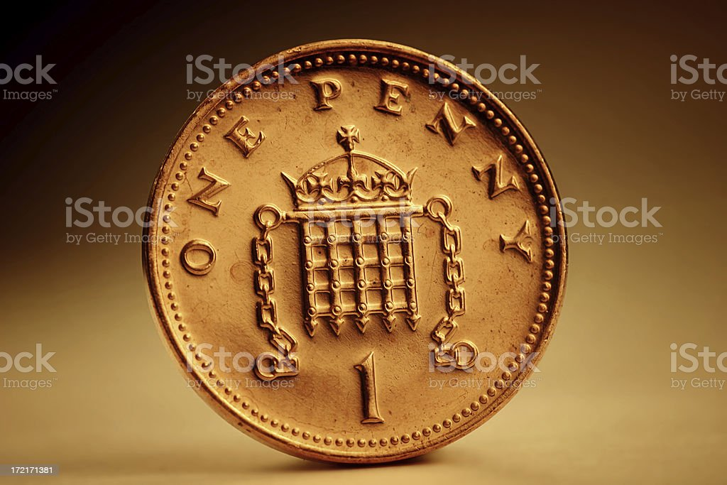 Golden Penny stock photo