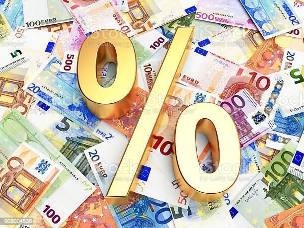 Golden Percent Sign On Background Of Euro Bills - Fotografie stock e altre immagini di Affari