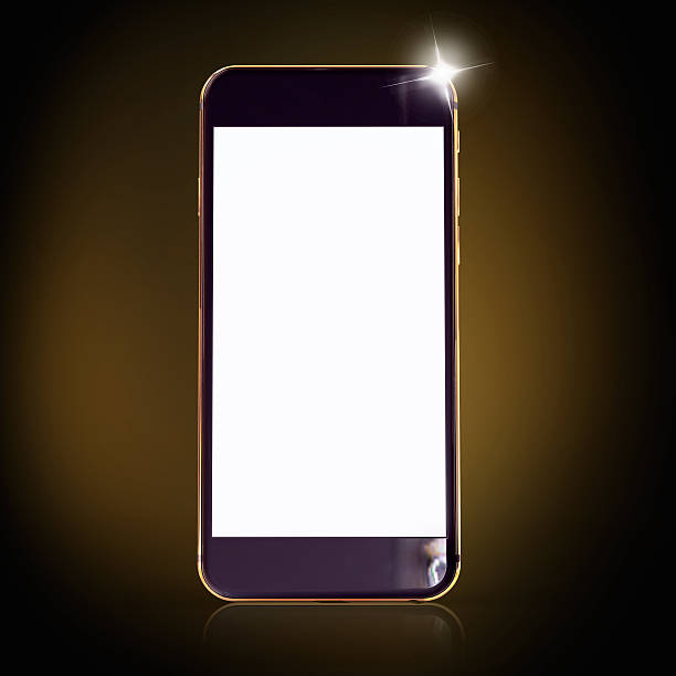 Golden Telefon auf einem schwarzen Hintergrund. – Foto