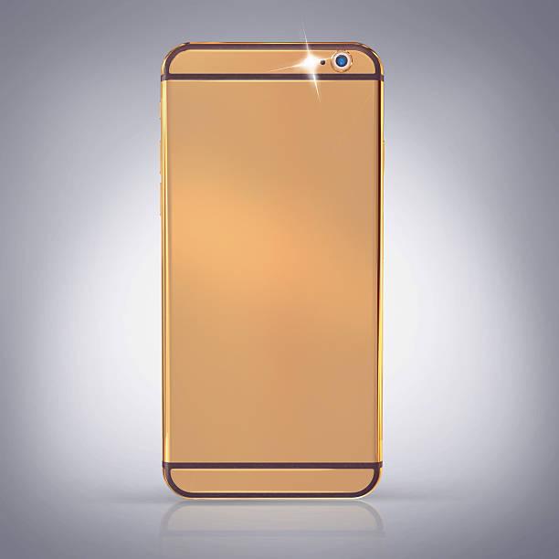 Golden Telefon auf einem grauen Hintergrund – Foto