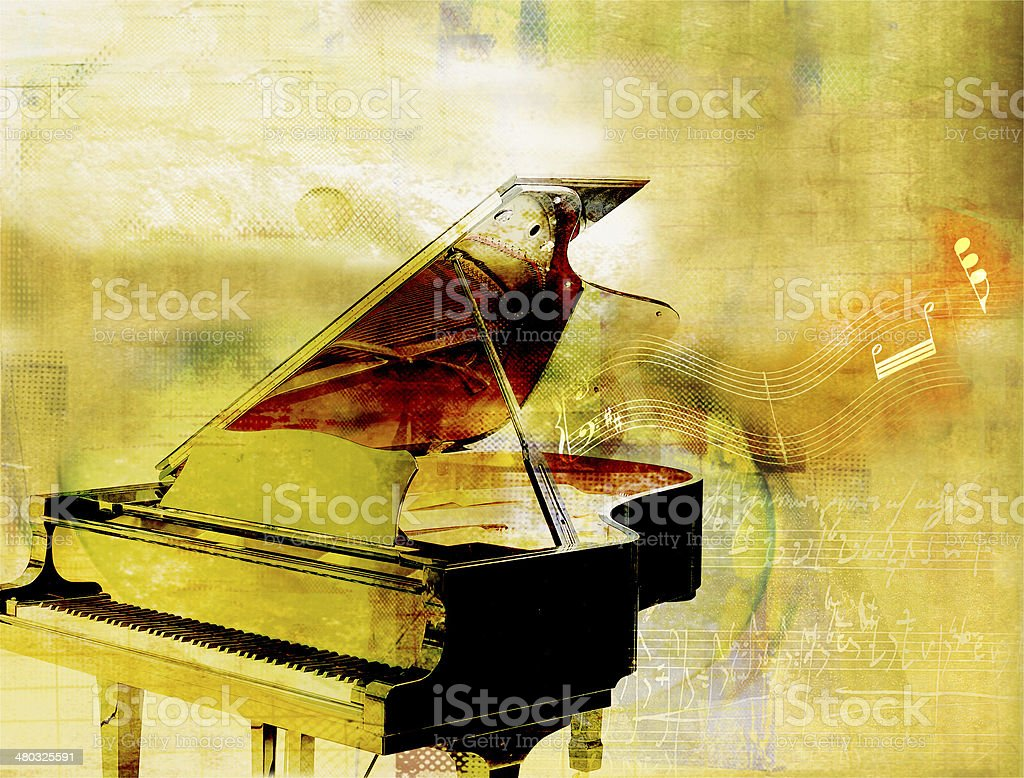 golden piano background stock photo