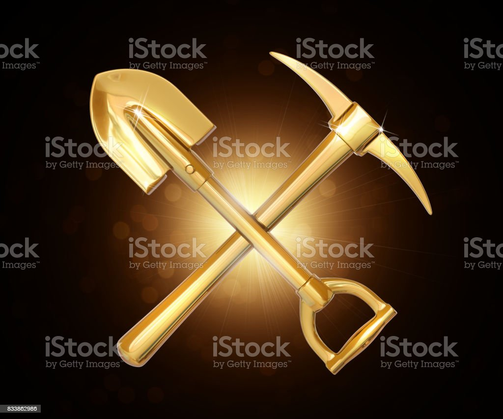 Golden pick and shovel on dark background. 3d render stock photo