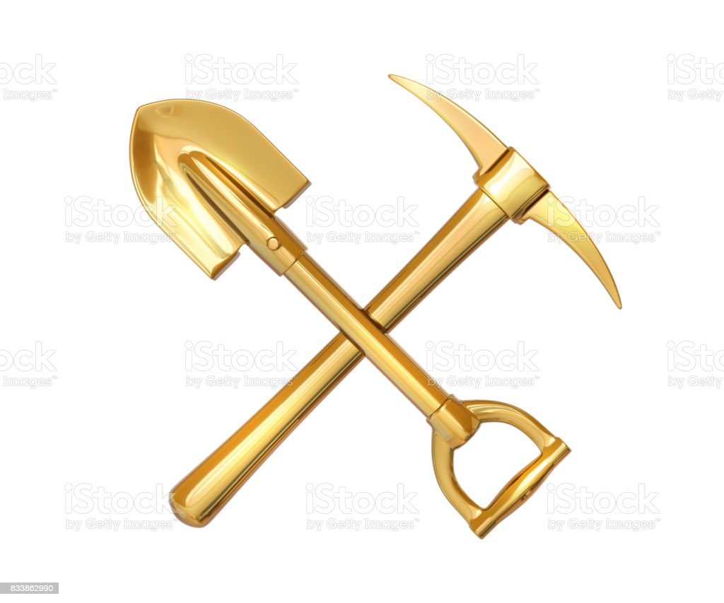 Golden pick and shovel on white isolated background. 3d render stock photo