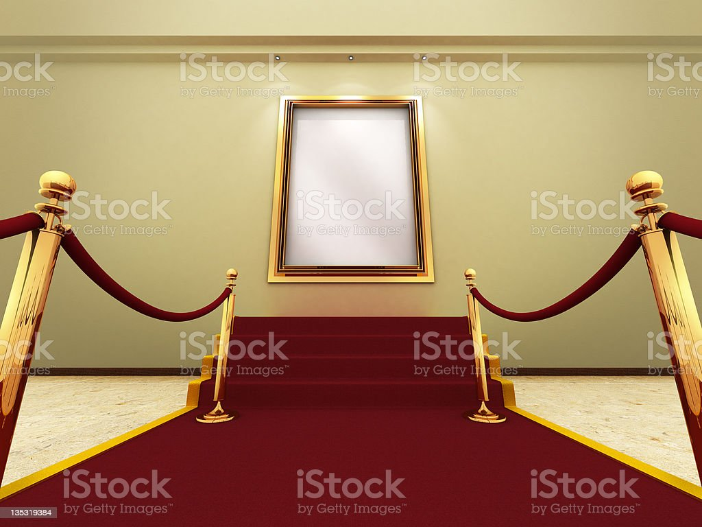 Golden picture frame in a Grand Gallery royalty-free stock photo