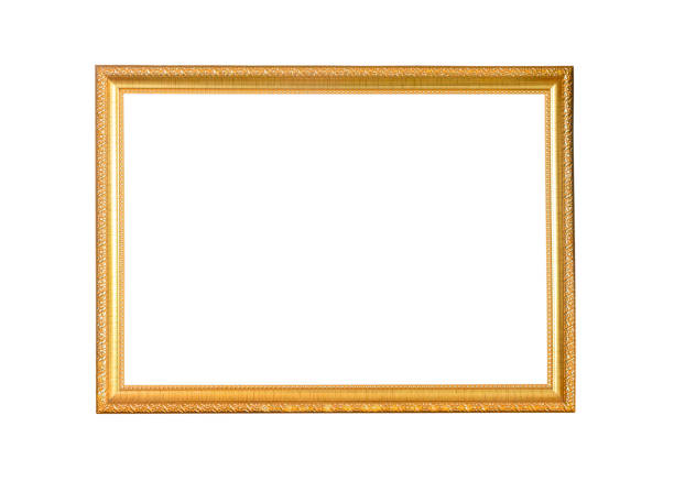 golden picture frame isolated on white background - moldura composição imagens e fotografias de stock