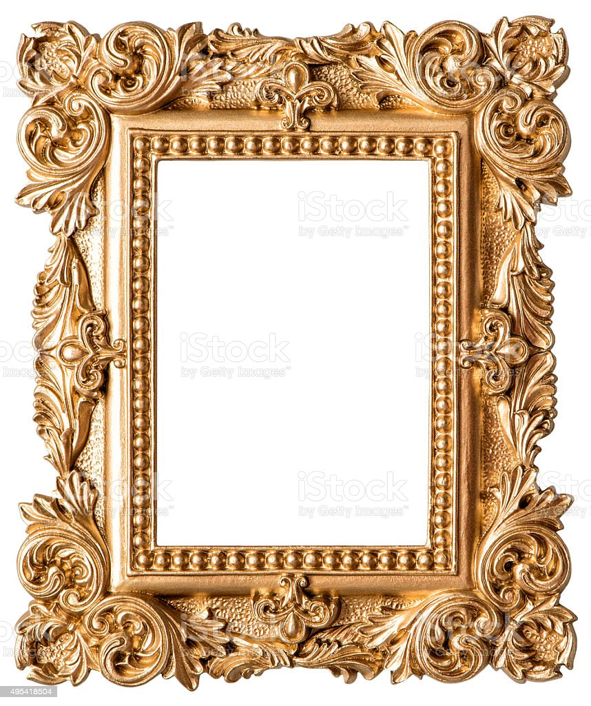Goldene Bilderrahmen Isoliert Auf Weißem Hintergrund Stock ...