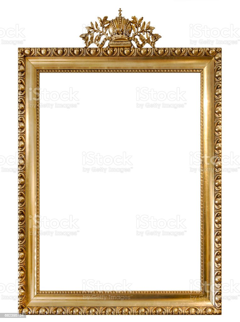 Golden picture frame isolated white background Vintage object royalty-free stock photo