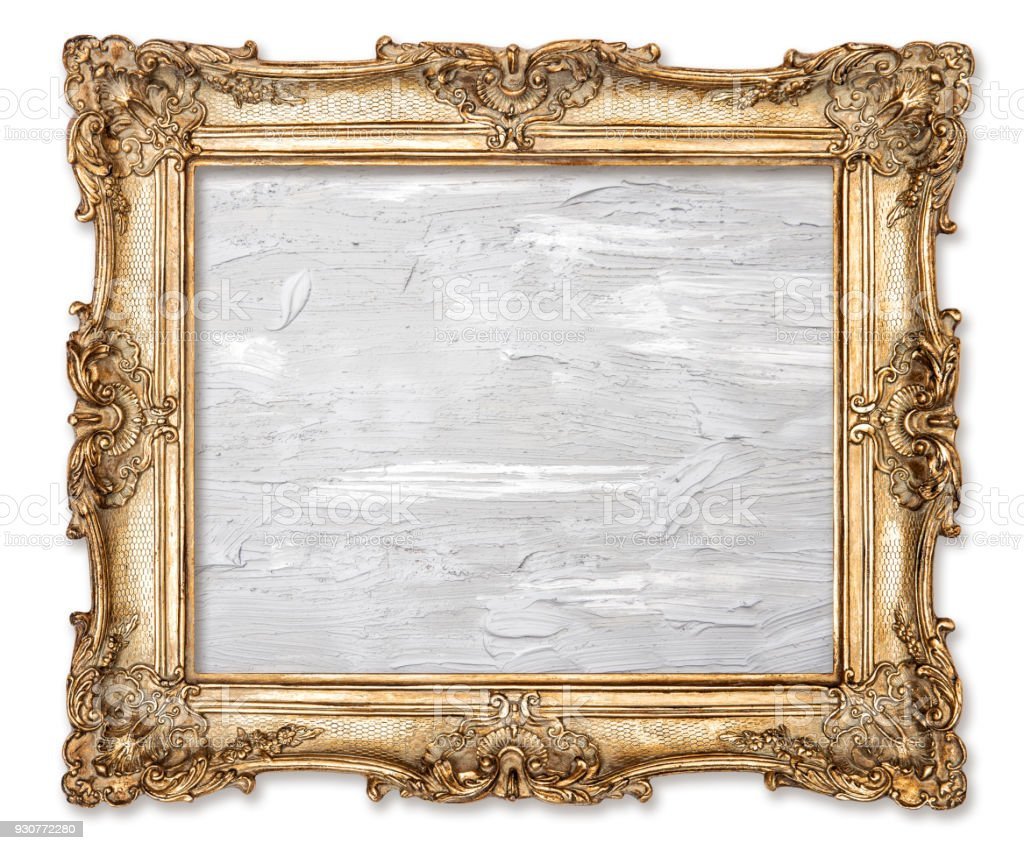 Golden picture frame oil painted canvas white background stock photo