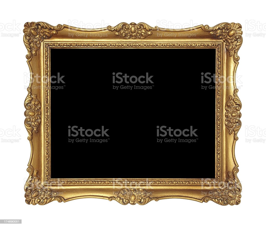 Golden Picture Frame or Mirror stock photo
