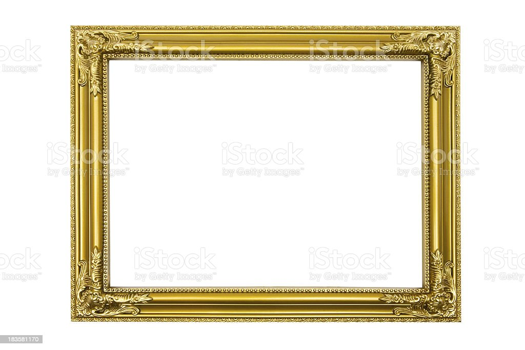 Golden Picture Frame (Clipping Path Included) royalty-free stock photo