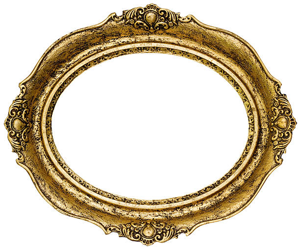golden picture frame - ellipse stock photos and pictures