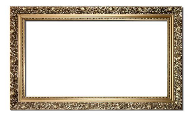 goldene bilderrahmen - wandspiegel weiß stock-fotos und bilder