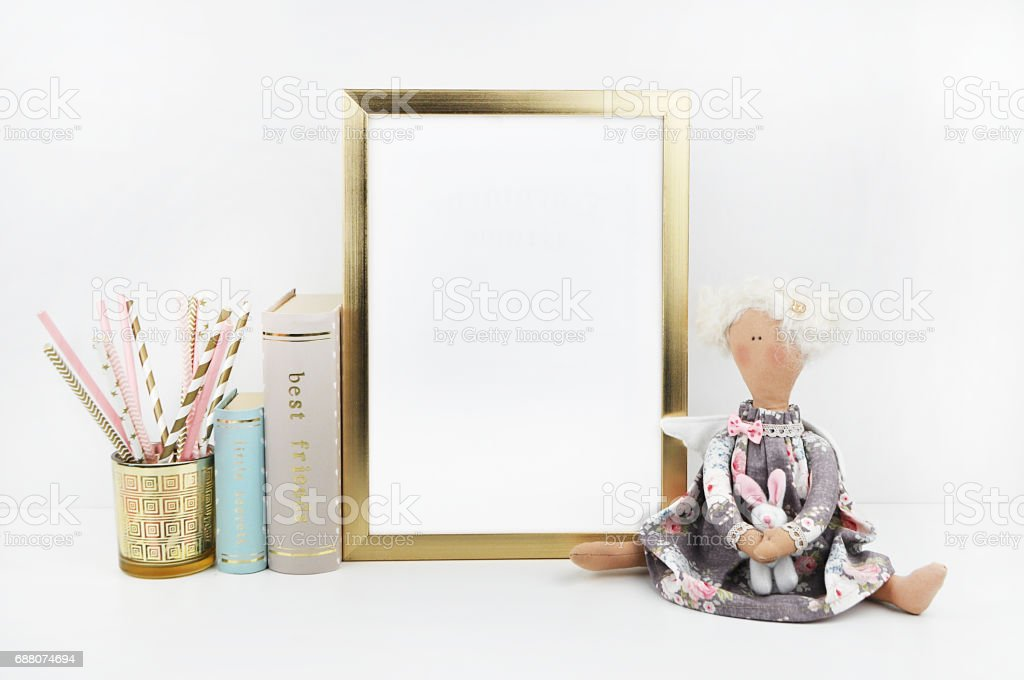 Golden Picture Frame With Decorations Mock Up For Your Photo Or Text ...