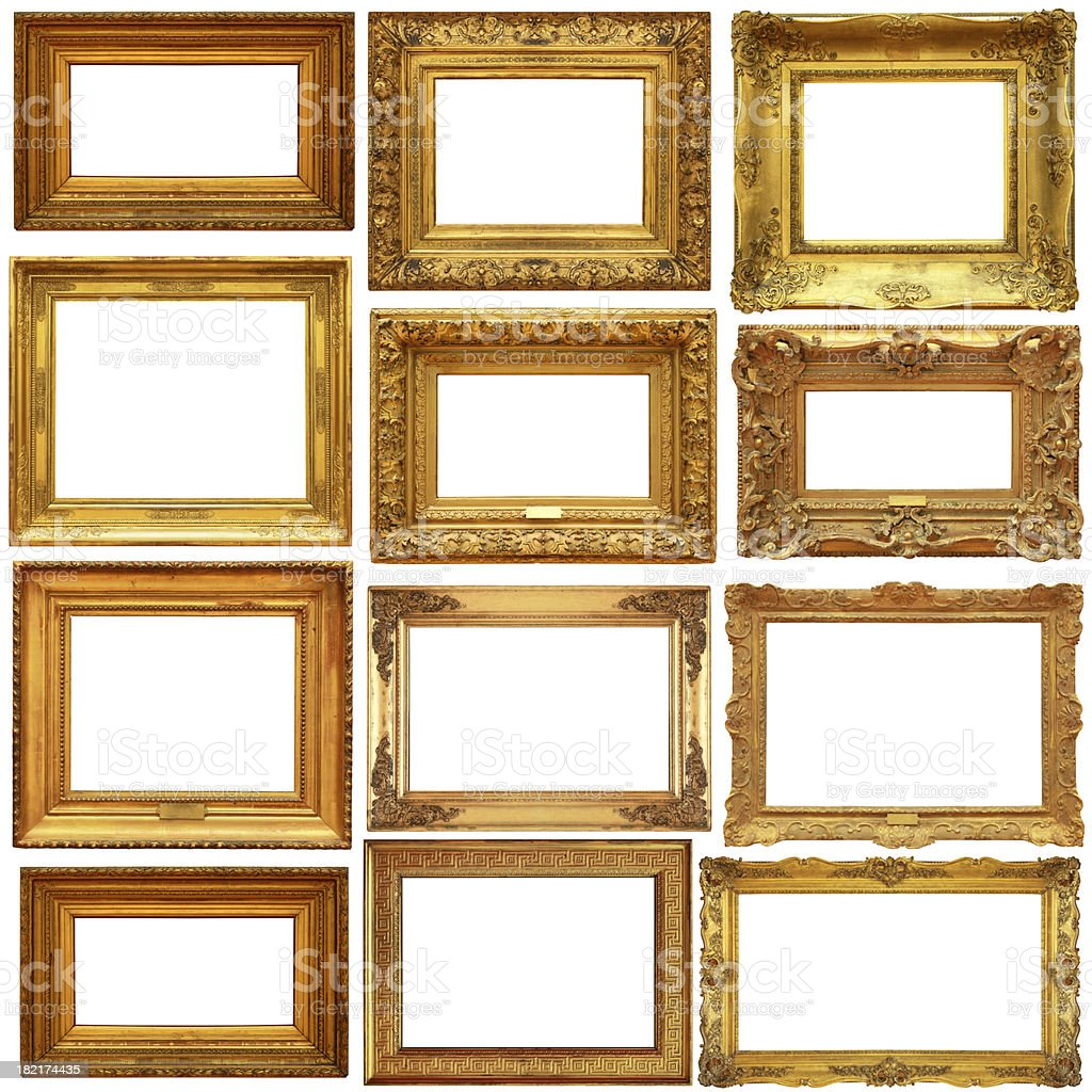 Golden picture frames collection royalty-free stock photo