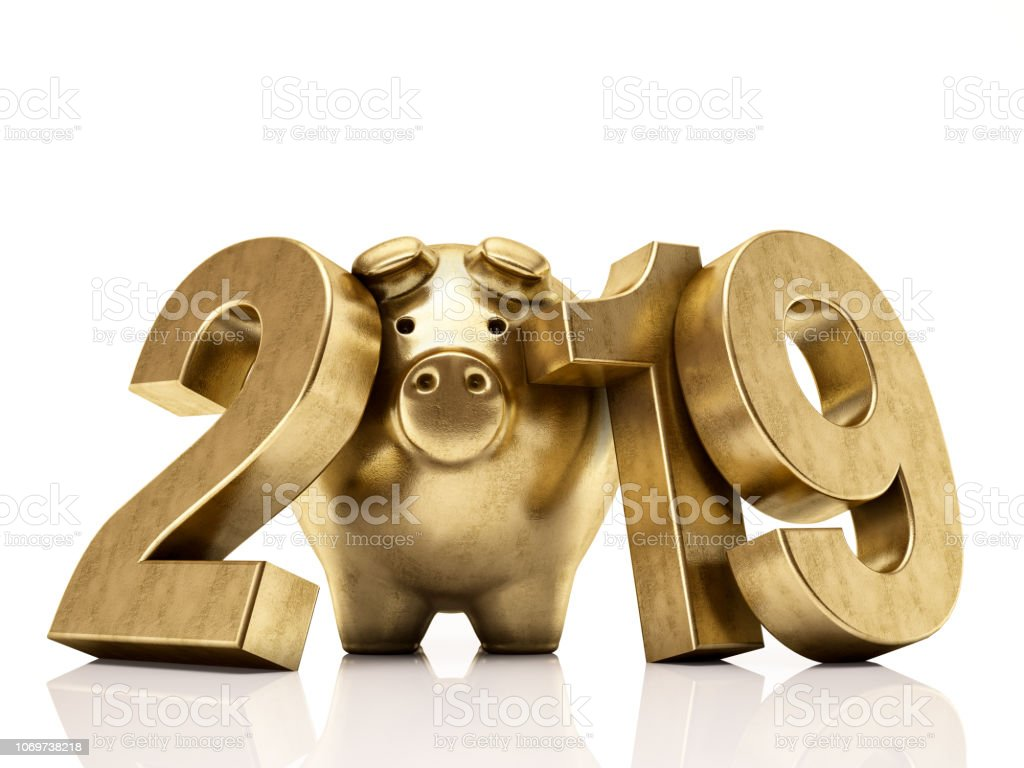 Golden Pig 2019 Numbers. New Year Concept stock photo