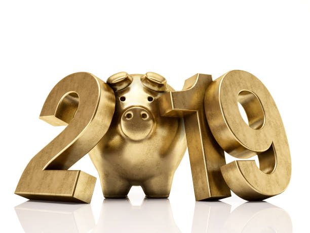 golden pig 2019 numbers. new year concept - chinese new year stock pictures, royalty-free photos & images