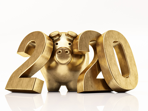 Golden Pig 2020 Numbers. 3D Render