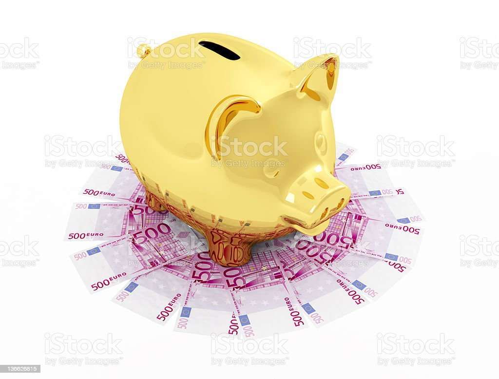 Golden piggy bank on  Euro  banknote royalty-free stock photo