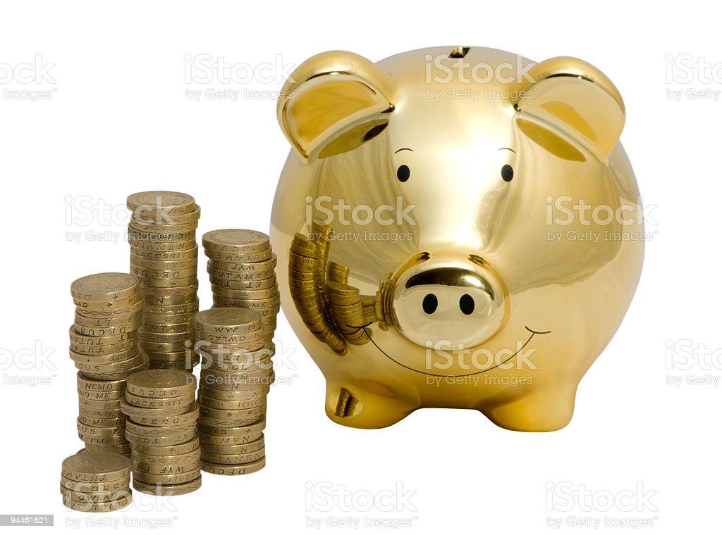 Golden piggy bank royalty-free stock photo