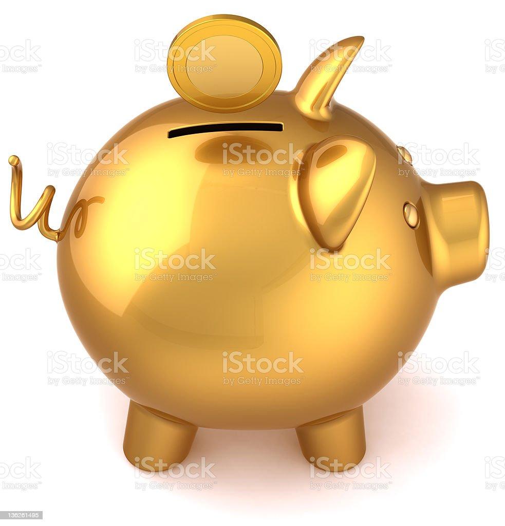 Golden piggy bank savings icon concept royalty-free stock photo