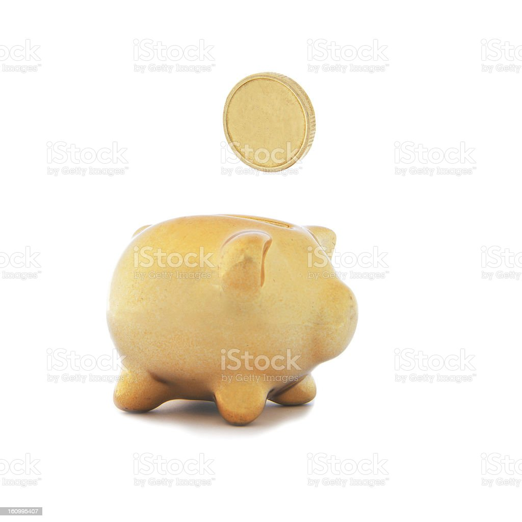 Golden piggy bank with coin royalty-free stock photo