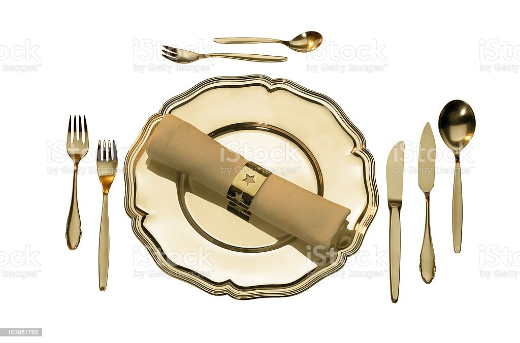 golden place setting royalty-free stock photo