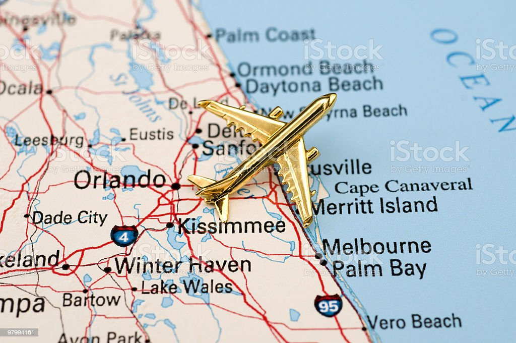 Golden Plane Over Central Florida. royalty free stockfoto