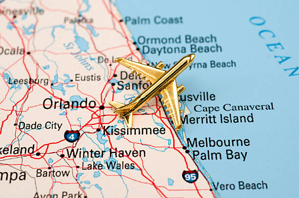 golden plane over central florida. - kissimmee stock photos and pictures