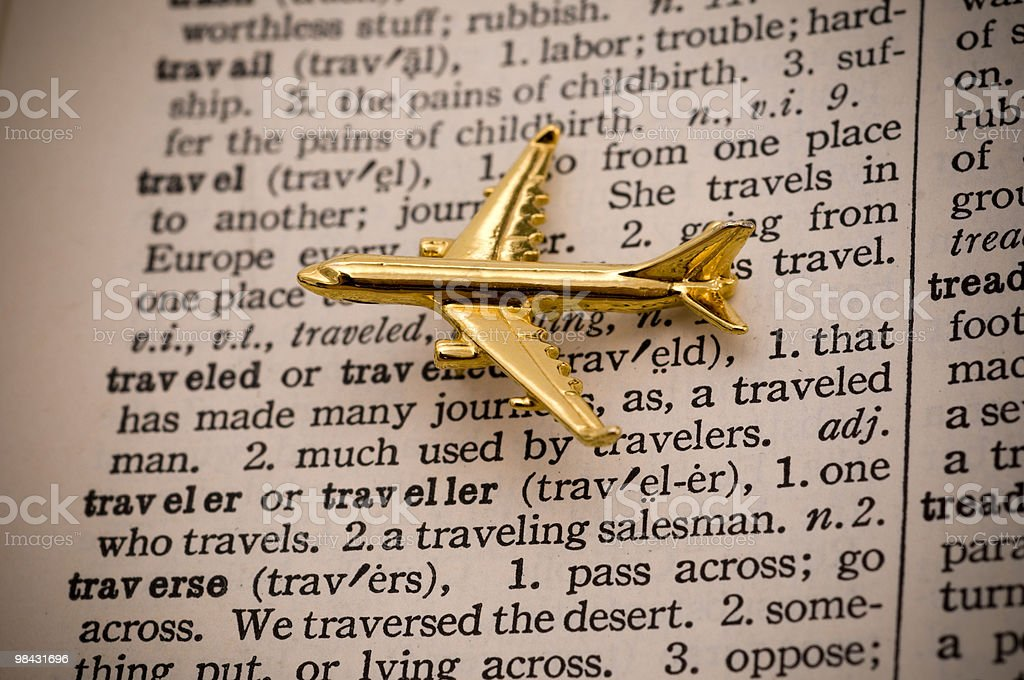 Golden Plane Over Travel Definition royalty-free stock photo