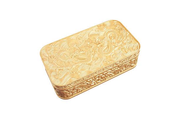 golden kunststoff-box, isoliert auf weißem hintergrund - geburtstagswünsche mit bild stock-fotos und bilder