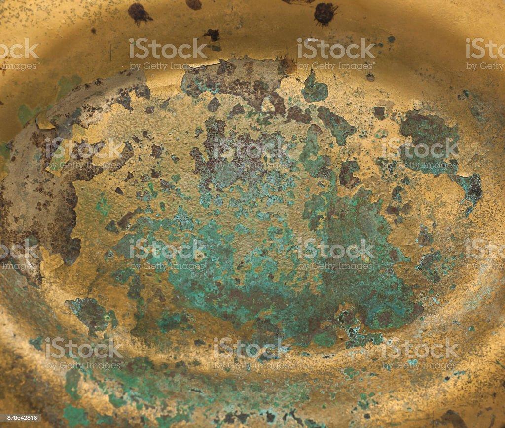 Golden plate brass rusted metal sheet stock photo
