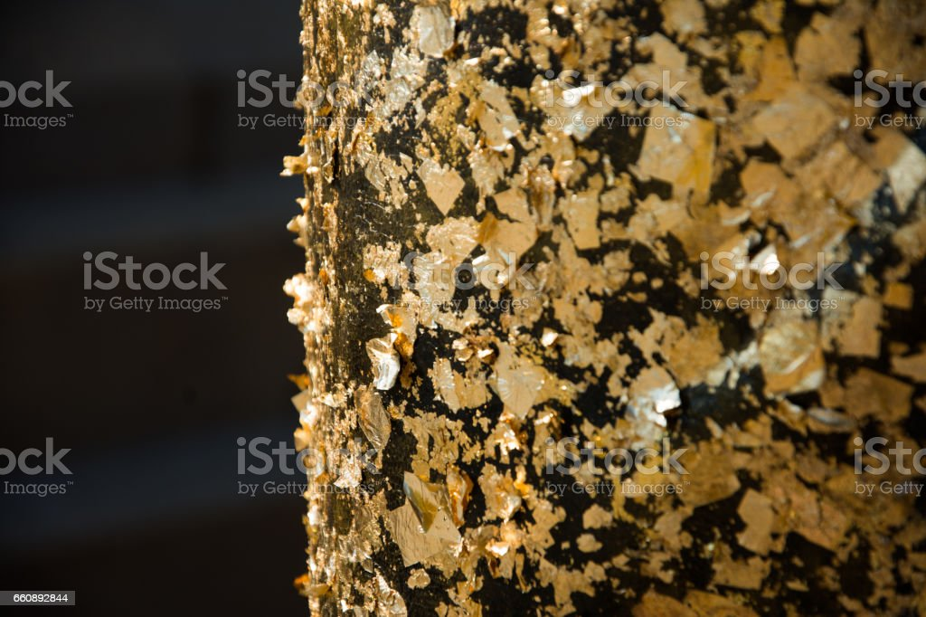 Golden plate shining faith. stock photo
