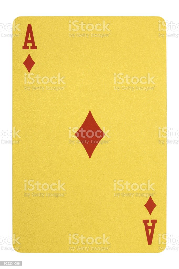 Oro jugando a las cartas, as de diamantes - foto de stock