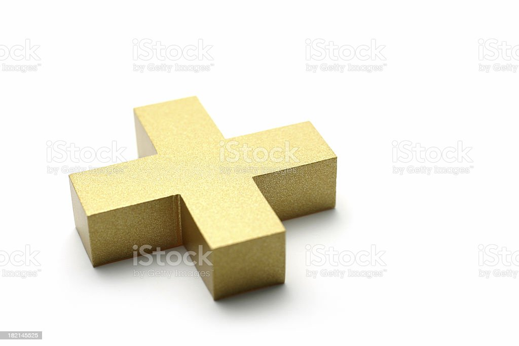 Golden Plus Symbol stock photo